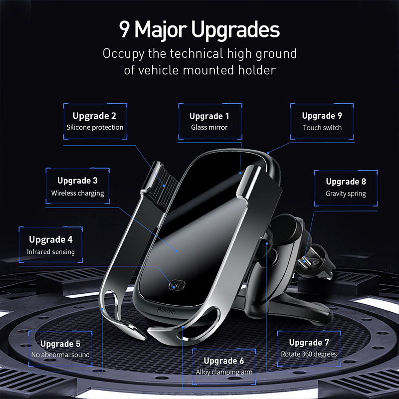 Image 3 - Baseus 10w car qi wireless charger for iPhone X Samsung S10 S9 S8  car wireless charger intelligent infrared car mountCar Chargers   -