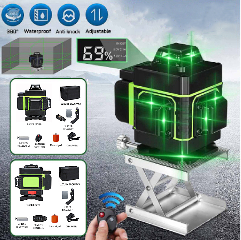 Measurement Tool Laser Level 2 16 Lines 4D Green Vertical Horizontal Lasers High Precision Laser Level With Auto Self-Leveling
