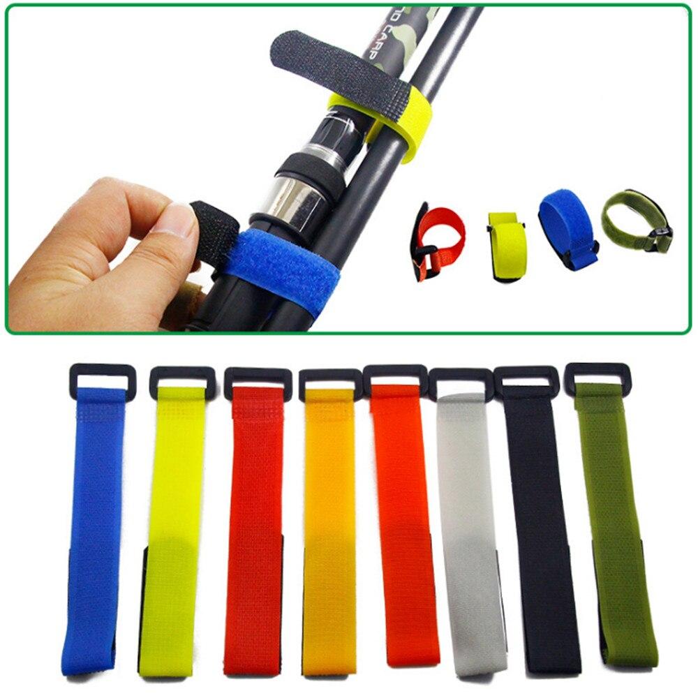5Pcs/lot Multicolor Reusable Fishing Rod Tie Holder Strap Suspenders Fastener Hook Ties Belt Fishing Tackle Accessories
