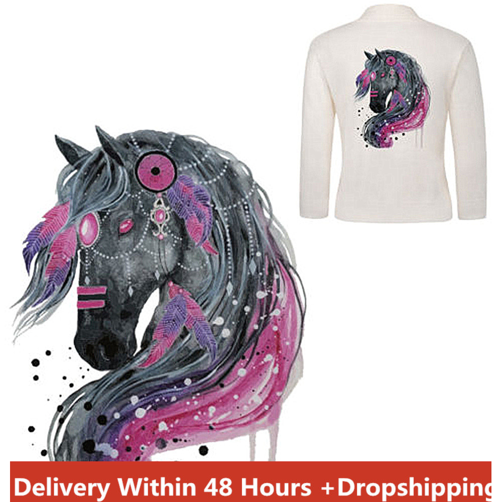 Best Sell 2020 Products Horse Iron On Patch Heat Transfer Sticker Applique Diy Clothing T-shirt Decor Applique Fabrics Dropship