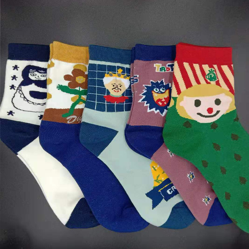 2020 New Spring And Autumn Tube Socks For Men And Women With The Same Cartoon Cotton Socks Personality Jacquard Socks