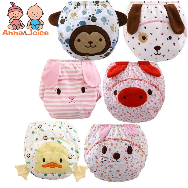 20 Pcs/lot Cartoon Training Pants  Reusable Baby Infant Nappy Cloth Diapers Soft Cotton Baby Nappy  Suit 12--15KG