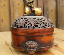 Marked Chinese Pure Bronze Gilt Lion Foo Dog Beast Statue lncense Burner Censer(China)
