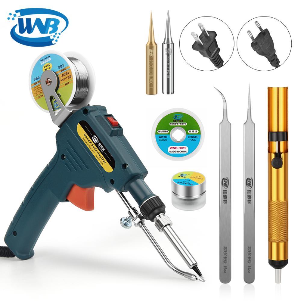 WNB 60W US/EU Handheld Internal Heating Electric Soldering Iron Automatic Send-Tin Gun Precision Welding Solder Repair Tool Kit