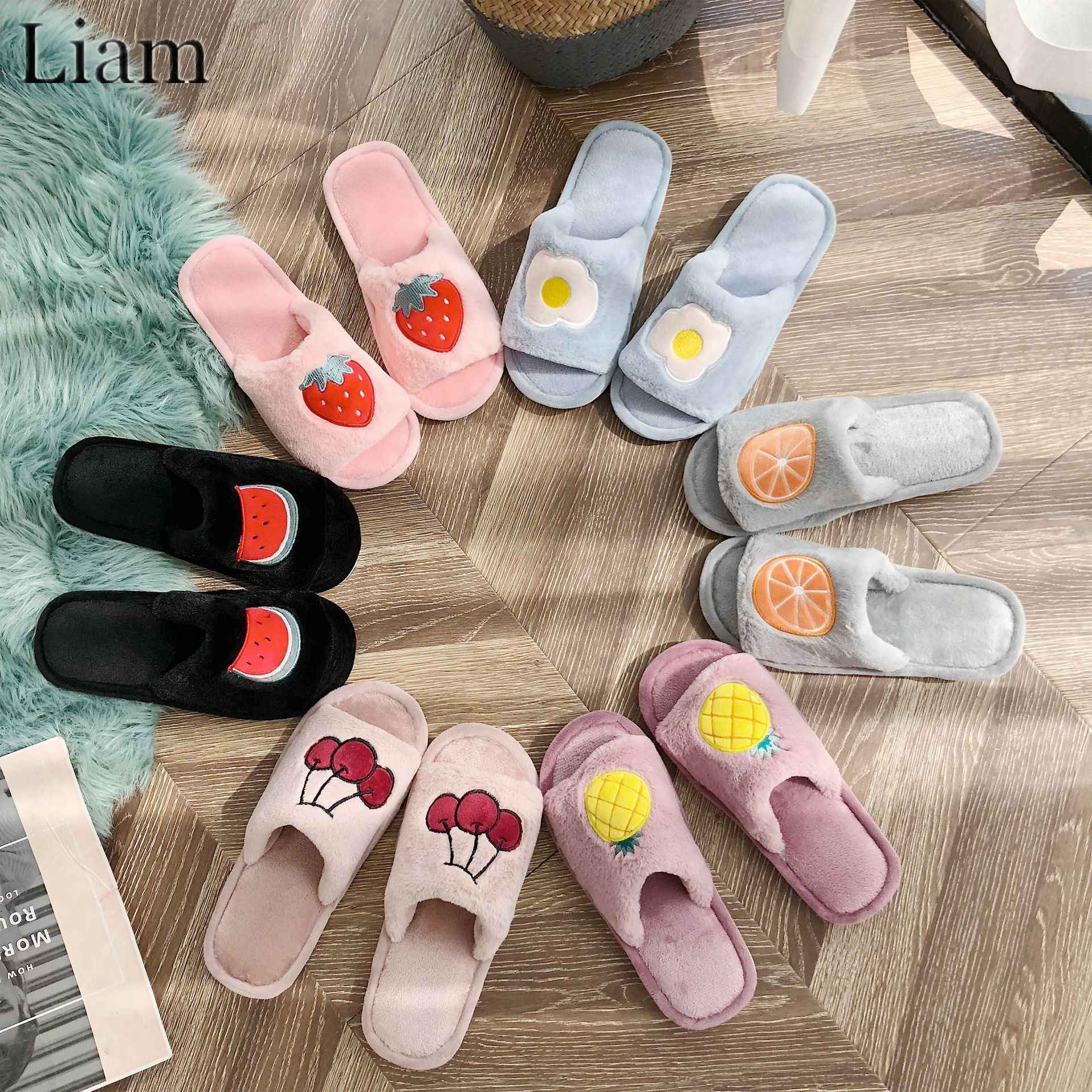 Liam Fruit Print Slipper Winter Warm Leuke Huis Schoenen Comfortabele Open Tenen Antislip Fuzzy Slides zapatos de mujer
