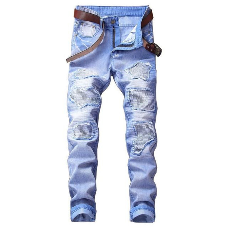 Fashion Men`s Motorbike Motorcycle Jeans Denim Trousers Cool Teens Youth Boys Washed Holes Pleated Male Straight Pants 29-42 (12)