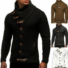 Sweater 2021 Fall/Winter Knitted Jacket Turtleneck Button Large Size European and American Men's Sweater