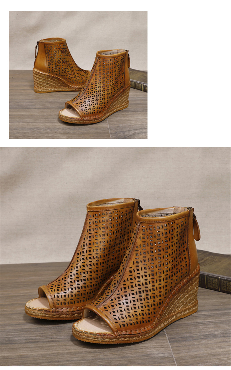 Spring Summer 2020 New Women Wedges Sandals Genuine Leather Peep Toe Hollow Woven High Wedge Heels Shoes Woman High-Top Sandals (2)