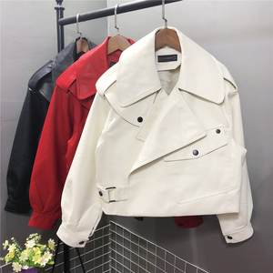 FTLZZ Neue Frühjahr Frauen Faux Leder Jacke Biker Rot Weiß Mantel Turndown Kragen PU Motorrad Jacken Lose Streetwear Oberbekleidung