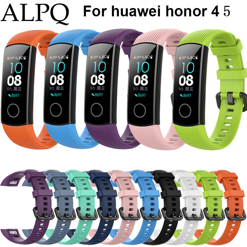 ALPQ Wrist Strap For Huawei Honor Band 4 NFC Smart Watch Bracelet Silicone Sport Band For Honor Band 5 Strap Correa