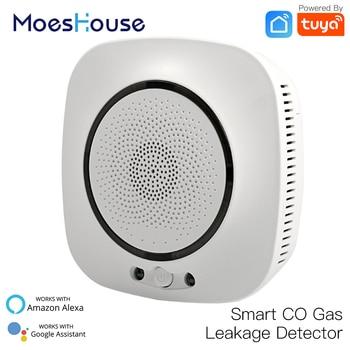 цена на WiFi Smart CO Gas Sensor Carbon Monoxide Leakage Fire Security Detector Smart Life Tuya App Control Home Security System