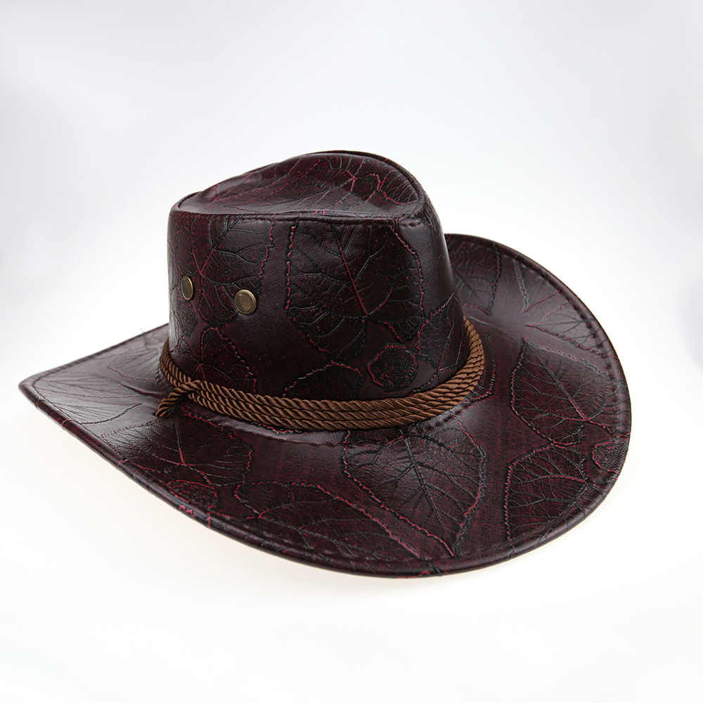 2019 Brand new occident leather Cowboy hat Spring and summer knight Visor Unisex Glossy Jazz Wide-brimmed