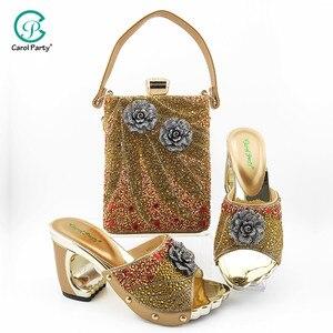 Image 5 - 2020 элегантные женские туфли и подходящая к ним Сумочка небесно голубого цвета Цвет итальянские дамские туфли лодочки с молнией дизайнерские туфли и сумка в комплекте, украшенные большим Стразы для свадьбы
