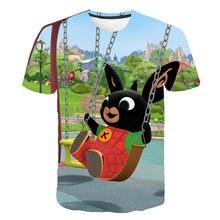 Verão 3d dos desenhos animados das crianças bing divertido coelho crianças camisetas de manga curta meninos e meninas bonito casual camiseta roupas de bebê 4t-14t