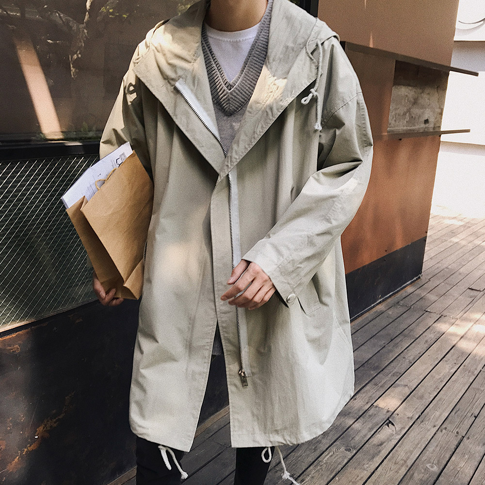2020 Autumn New Long Jacket Trench Coats Men's Fashion Solid Color Casual Hooded Windbreaker Pocket Trench Jackets