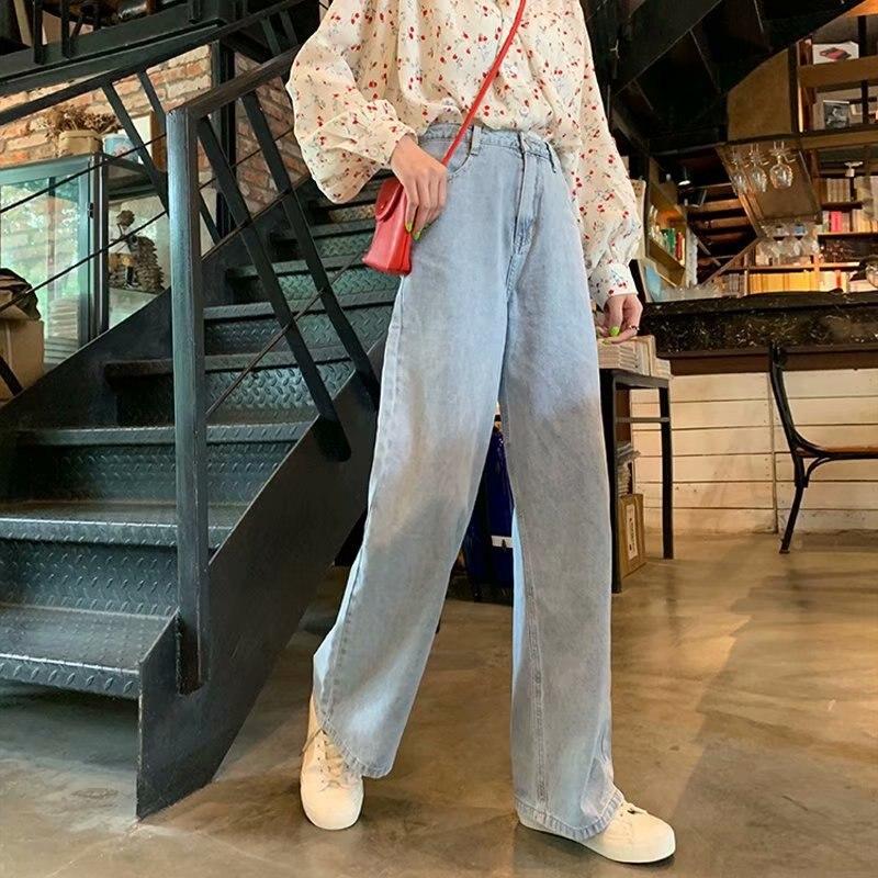 Women Jeans Vintage Casual Loose High Waist Wide Leg Jeans Women Simple Full-length Denim Pants Plus Size