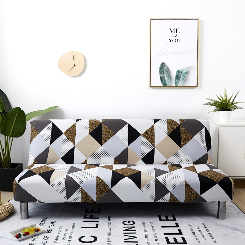 Armless Sofa Bed Cover Without Armrest Stretch Folding Sofa Printed Slipcovers Furniture Decoration Bench Bed Covers