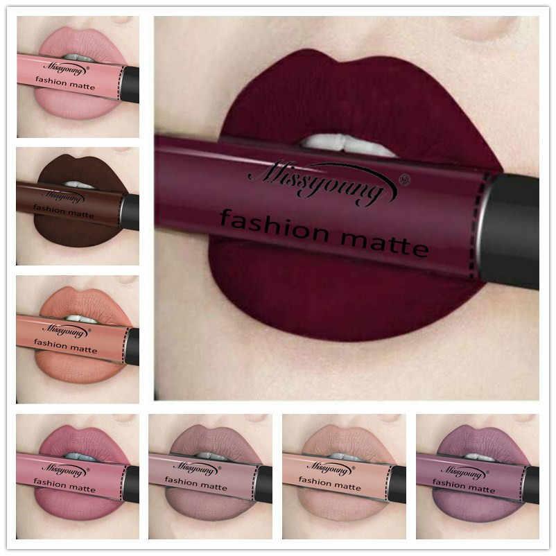 Seksi Merah 18 Warna Tahan Air Matte Nude Lipstik Lipkit Pigmen Gelap Merah Hitam Tahan Lama Lip Gloss Wanita Makeup Lipgloss MT9