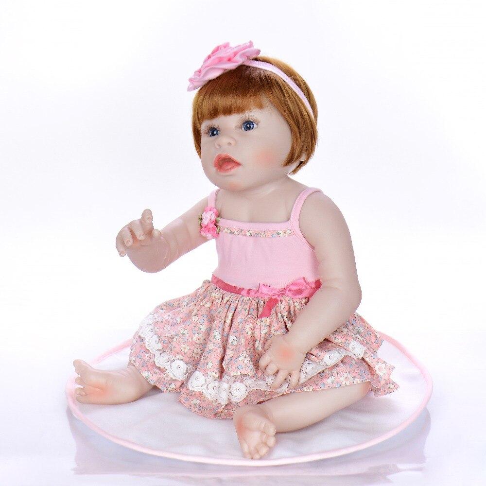 56 см младенец получивший новую жизнь девочка кукла полное тело Мягкий силикон 0 3 м настоящий ребенок размер bebe кукла возрожденная Ванна игр
