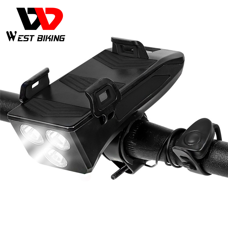 WEST BIKING 4000mAh Bike Light Multifunctional 4 In 1 Bike Accessories Horn Phone Holder Power Bank Cycling Bicycle Flashlight