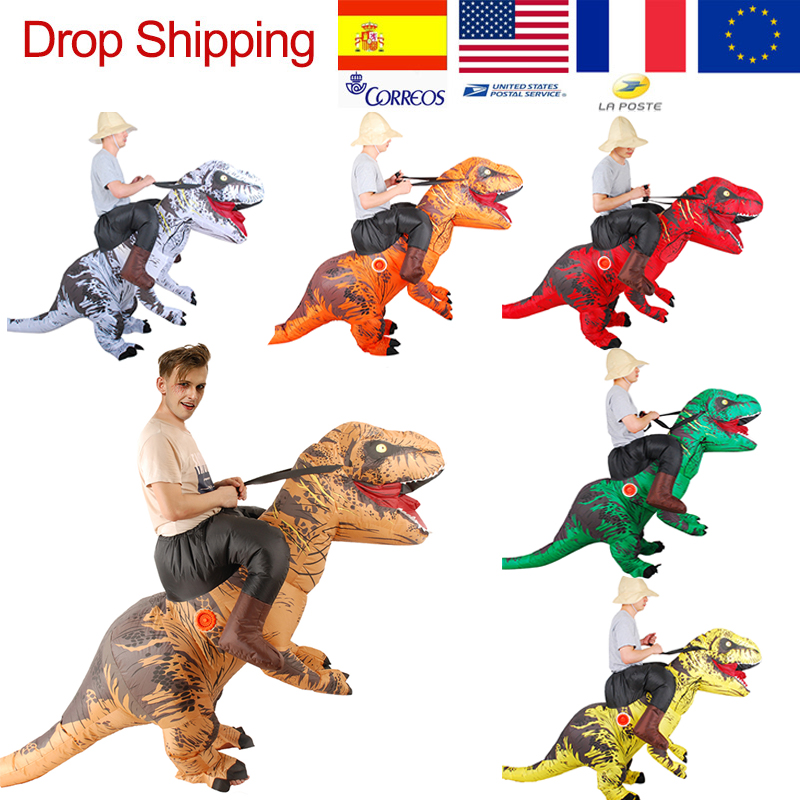 New T-REX Riding Costume For Adults Jurassic World Mascot Inflatable Costume Halloween Dinosaur Cosplay Party Anime Costume