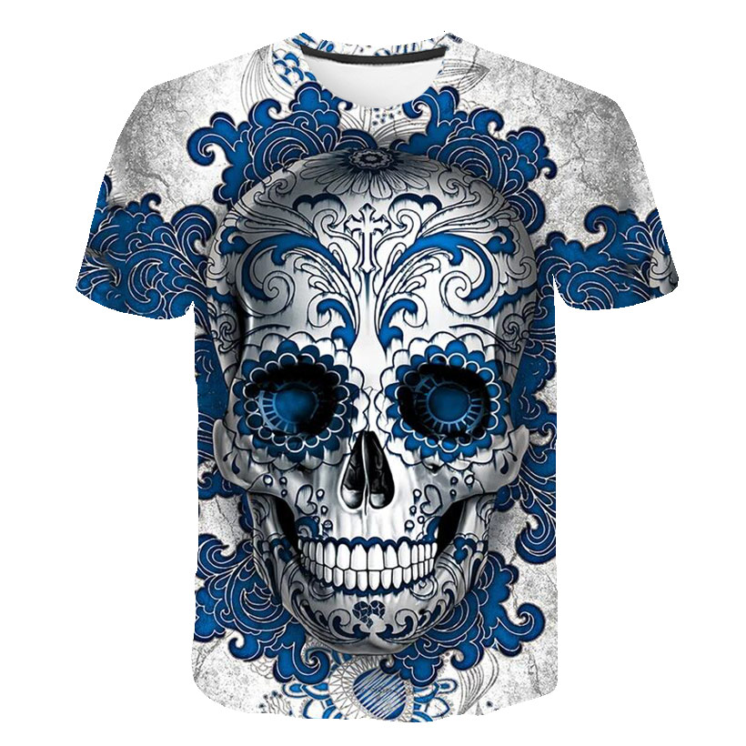 BZPOVB 2019 New Mens Summer Skull  Print Men Short Sleeve T-shirt 3D T Shirt Casual Breathable T-shirt Plus-size T-shirt