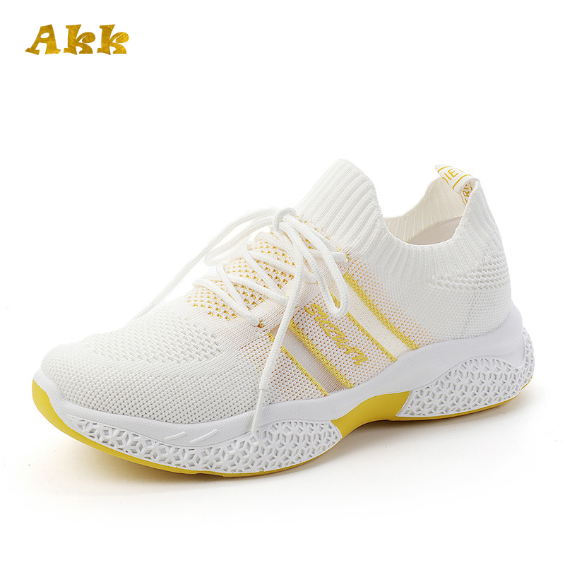 Akk White Women Sneakers Female Light Knitted Vulcanized Shoes Casual Ladies Flat Shoe Air Mesh Trainers Soft Walking Footwear