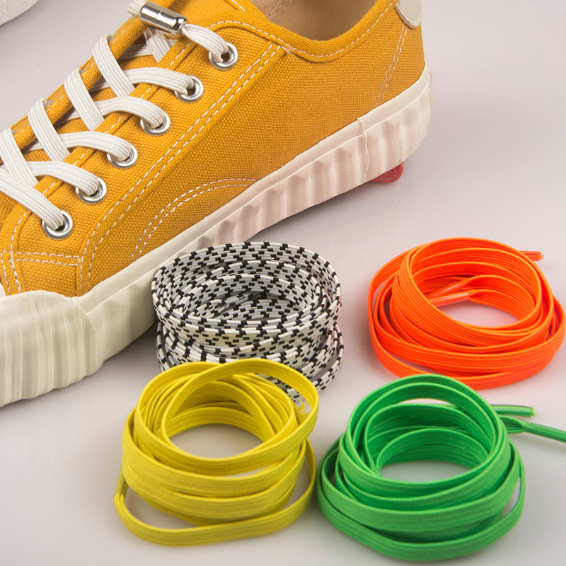 1 Pair Lazy Shoelace Stretch Free Wild Metal Capsule Buckle Flat Elastic Shoelaces Sneaker  Hiking Boots Shoe Strings