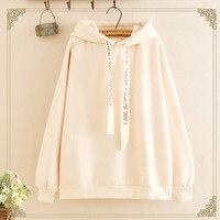 Winter New Style WOMEN'S Dress Lettered Ribbon Drawstring Hooded Warm plus Velvet Hoodie Blouses Fashion