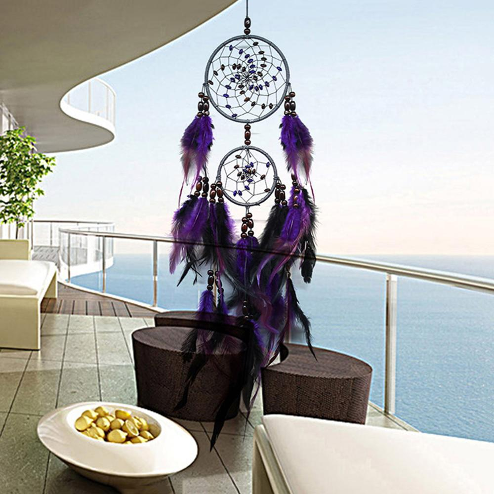 Purple Feather Crafts Dream Catcher Wind Chimes Handmade Dreamcatcher Net For Wall Hanging Car Home Decoration Birthday Gift