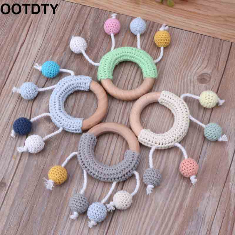 Baby Teether Crochet Wooden Ring Rattle Wooden Teether DIY Crafts Teething Toys