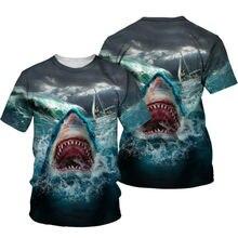 2021 Summer Children's Anime 3D Printing Blue Ocean Shark Figure Fashion Boys And Girls Favorite Short-Sleeved T-Shirts