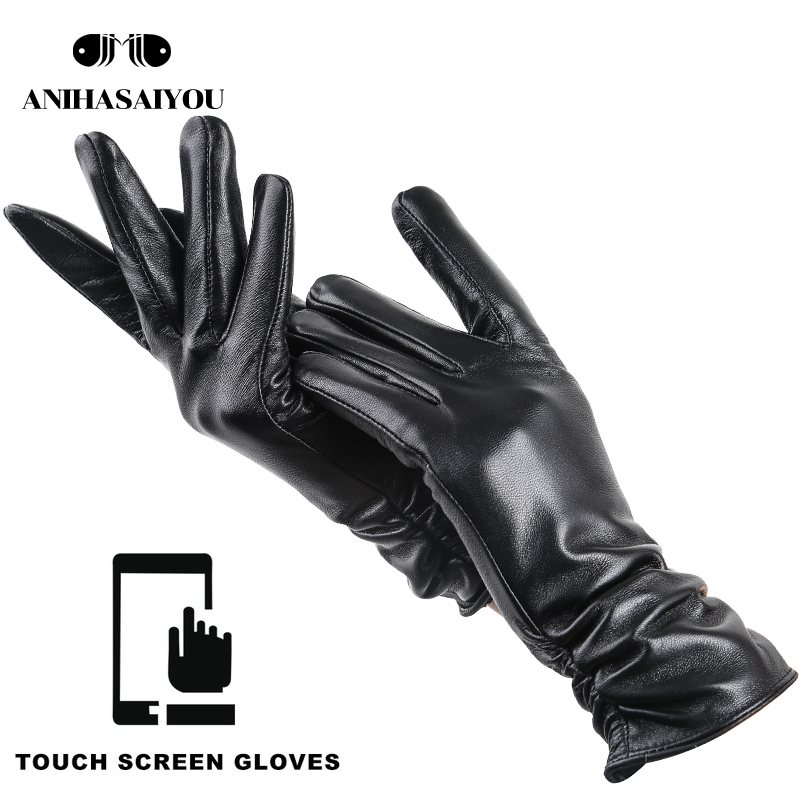 Fashion black touch screen gloves,warm leather gloves women,comfortable women's leather gloves Genuine Leather -2081CP