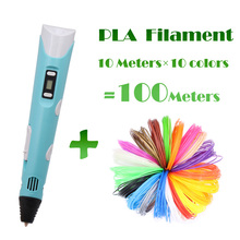 Printing 3D Pen LED Screen 3D Pen Printing 100m PAL Canetas Criativa Birthday Gift Mais Vendido 3 D Pen for kids Drawing With