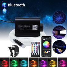Kit de luz LED de techo de cielo estrellado, fibra óptica, RGBW 16W, 200 Uds./300 Uds./400 Uds. X 0,75 MM x 2M, con aplicación para teléfono inteligente y controlador Bluetooth