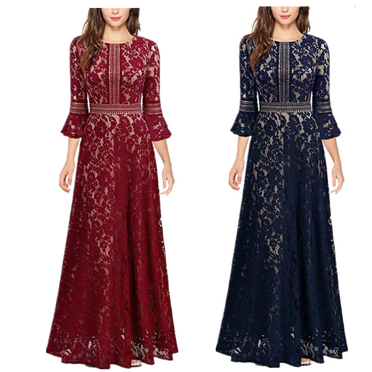 BacklakeGirls Round Neck Three Quarter Sleeve Lace Evening Dress Hollow Out Sexy Long Formal Dress Suknie Wieczorowe Plus Size