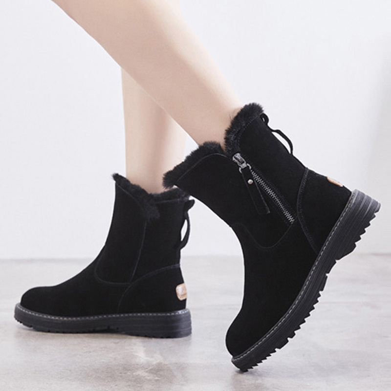 100% Genuine Leather Winter Shoes Women Snow Boots Warm Shoes Cold Winter Woman Ankle Boots Female Height Increasing 4.5cm A1668