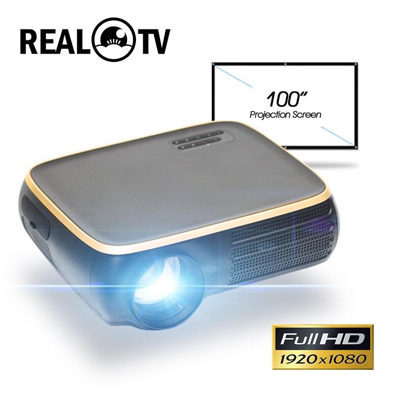 Real tv m8s completo hd 1080p projetor 4k 7000 lumens cinema beamer android wifi hdmi vga av usb com presente para ps5 x caixa interruptor