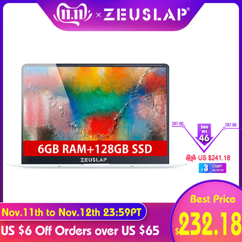 ZEUSLAP-X5 15.6inch 1920X1080P 6GB Ram+128GB SSD Windows 10 System Ultrathin Quad Core Fast Boot  Laptop Netbook Computer