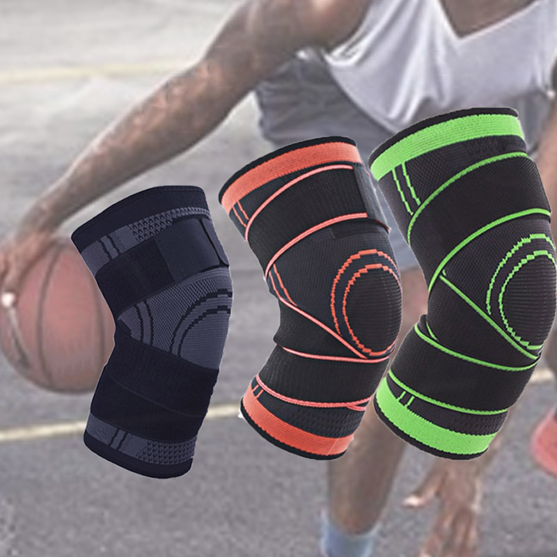 Hot 1pc 3D Weaving Knee Brace Pad Support Protect Adjustable Compression Breathable Running Support Knee Sleeve