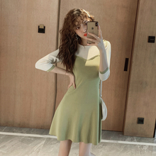 цена 2019 Autumn Three Quarter A-Line Mini Dress Women O-neck Casual Ladies Dresses Green Contrast Formal Dress Women Elegant Robe