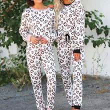 2Pcs Women Tracksuit Leopard Print Pants Sets Leisure Wear Lounge Wear Suit casual wearing for home daily Sets(China)