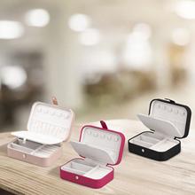 2021 przenośna biżuteria Box Organizer biżuterii wyświetlacz podróży biżuteria Case pudełka przycisk przechowywania naszyjnik kolczyki bransoletki Box tanie tanio CN (pochodzenie) DO SZAFY Ekologiczne POLIESTER Z tworzywa sztucznego Metal Tkanina PŁÓTNO Włókniny tkaniny Bawełna
