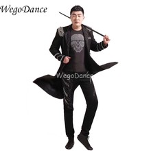 Men Black Tuxedo Long Slim Jacket Magic Garbage Royal Marriage Male Singer Performance Laciness Tuxedo Formal Costume(China)