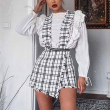 Mossha Asymmetry Vintage High waist tweed skirts womens 2019 autumn winter Fring