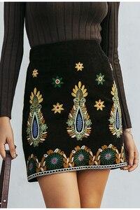 Image 2 - Simplee Vintage גבוהה מותן חצאיות נשים תחתון Boho עיפרון קורדרוי חורף חצאית נשי רקמת סתיו סקסי ירוק מיני חצאית