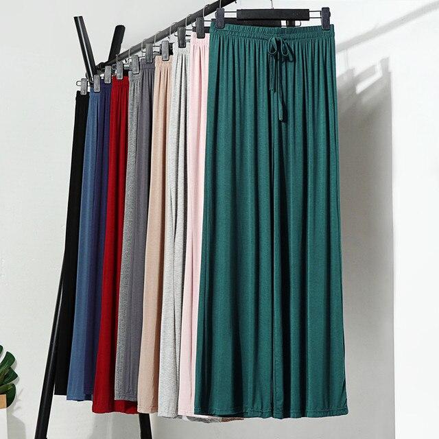 Cómodo sólido de algodón Modal largo hogar pantalones de talla grande mujeres dormir bottoms ropa de salón femenino ropa de noche casa Casual Nighty