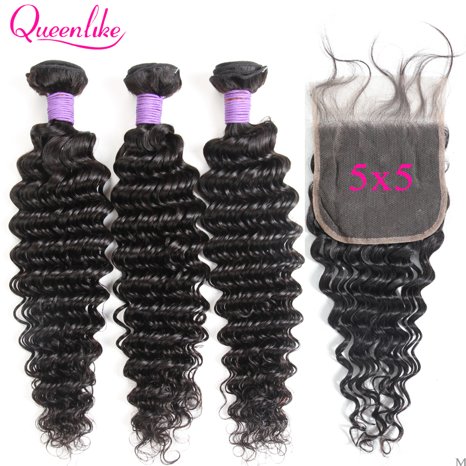 5x5 Closure With Bundles 100% Human Hair Bundles Weaving Queenlike Non-Remy Weft M 3 Bundles Brazilian Deep Wave With Closure