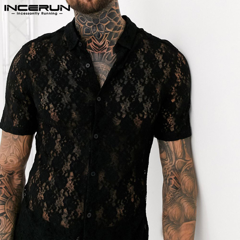 2020 Men Lace Shirt Transparent Solid Color Lapel Short Sleeve Mesh Party Nightclub Shirts Men Slim Blouse Camisa INCERUN Summer