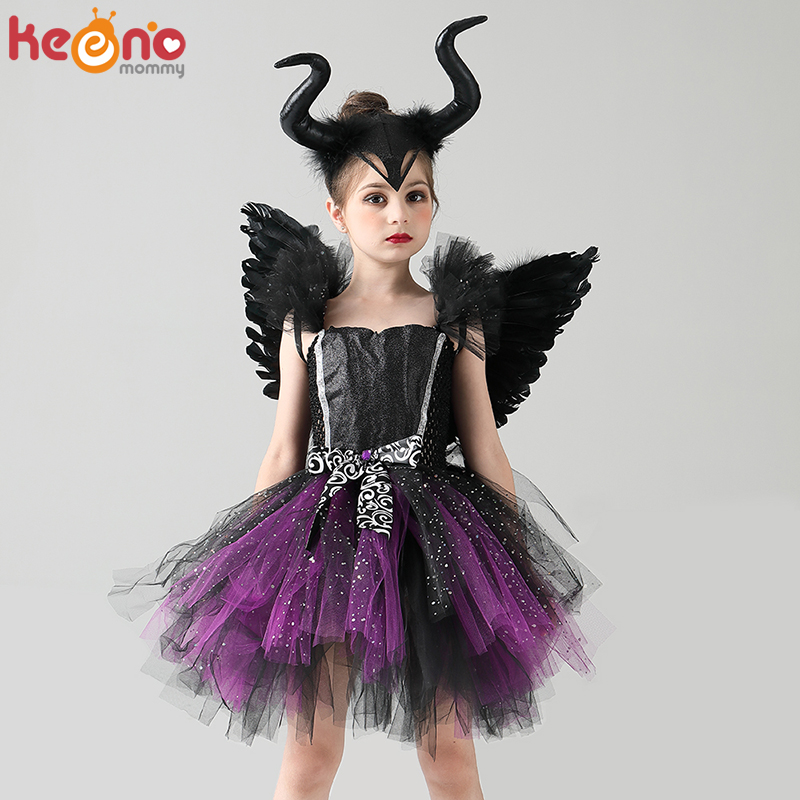Girls Evil Dark Fairy Witch Tutu Dress with Horns and Wings Sparkly Kids Halloween Cosplay Party Costume Fancy Evil Devil Dress